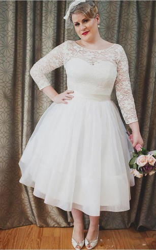 Plus Size Vintage Style Scoop Neckline 3 4 Long Sleeve Lace Tea Length Bridal  Gown ...