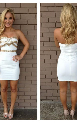 Sexy Strapless Sequined Short Cocktail Dress 2016 Bodycon Sleeveless Zipper