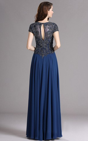 A-Line Queen Anne Short Sleeve Empire Chiffon Appliques Keyhole Dress