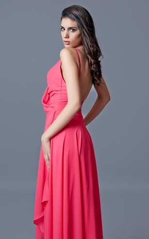 V-neck High-low Chiffon Dress With Sexy Back