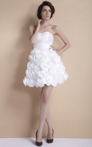 Floral Strapless Mini Dress With Ruffles And Zipper Back