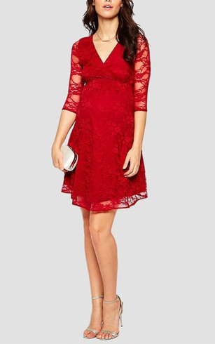 Empire V Neck A-line Knee Length Lace Dress With 3-4 Sleeves