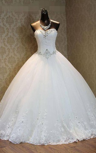 Ball Gown Sweetheart Bell Pleats Beading Appliques Flower Court Train Zipper Lace Up Back Chiffon