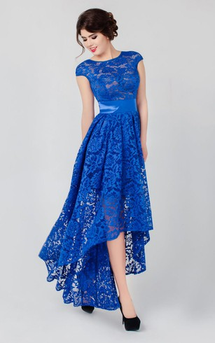 A-line High-low High Neck Short Sleeve Lace Low-V Back Dress