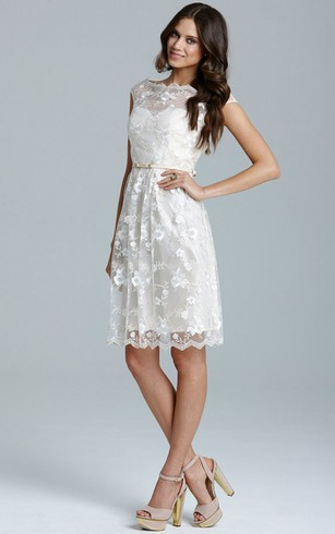 Short Lace Chic All-Over Dress With Belt
