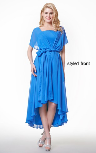Cape Sleeve A-line High Low Chiffon Dress With Ruffles