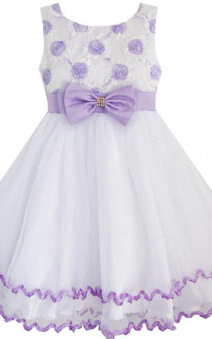 Purple flower girl dresses flower girl dresses shop by color sleeveless a line dress with bow and flowers mightylinksfo