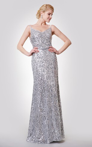 Silver Bridesmaids Dresses | Metallic Gray Bridesmaid Gowns - Dorris ...