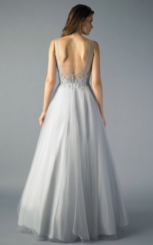 A-line Floor-length Bateau Sleeveless Tulle Low-V Back Dress