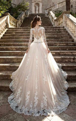 Lace bridal dress with long sleeves lace sleeve wedding gowns a line short v neck long sleeve bell t shirt beading appliques sweep junglespirit Image collections