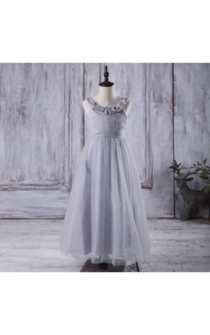 V Back Floral Neck Sleeveless Pleated A-line Tulle Ankle Length Dress