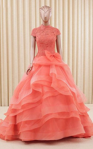 A-Line Ball Gown Floor-Length High Neck Bell Cap Bow Sweep Train Zipper Lace Organza Dress