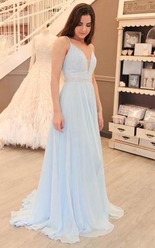 Light Shade Blue Color Prom Gowns, Blue Formal Dresses - Dorris Wedding