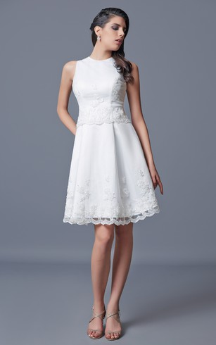 Sleeveless Short Satin Dress With Embroidery