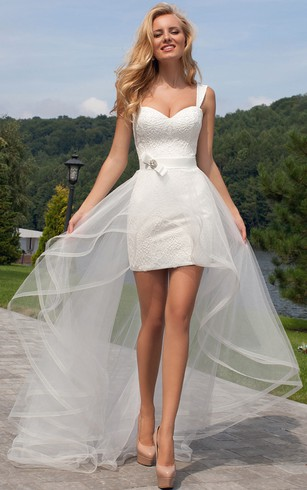 Short bridal dresses knee length simple casual wedding gowns short straps lace wedding dress with corset back junglespirit
