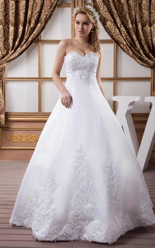 Cheap plus size wedding dresses under 100 dorris wedding sweetheart satin stress and ball gown with appliques junglespirit Image collections