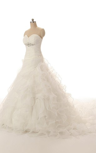 Organza Crisscross Sweetheart Sleeveless A-Line Dress With Cascading Ruffles and Beadwork