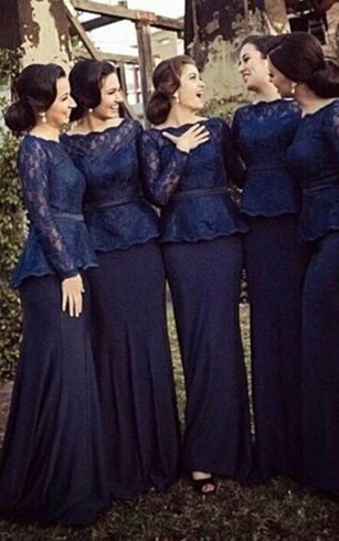 sheath Bateau Long Sleeves Sweep Train Lace Chiffon Bridesmaid Dresses