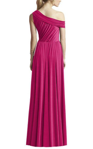 One Shoulder Ruched Chiffon Long Dress