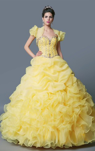 Grand Sweetheart Layered Ruffled Organza Quinceanera Ball Gown With Bolero