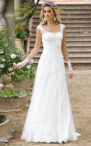 A Line Floor Length Cap Sleeve Square Neck Lace Wedding Dress With