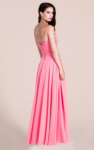 Simple Style Sweetheart Strapless Long Chiffon Bridesmaid Dress