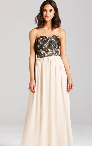 A-Line Long Dress With Black Embroidery Bodice