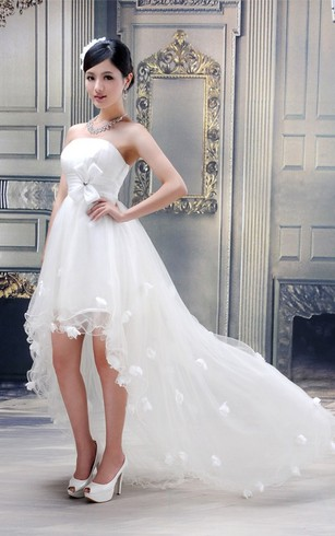 Lovely Strapless High-Low Tulle Dress With Bow and Flower