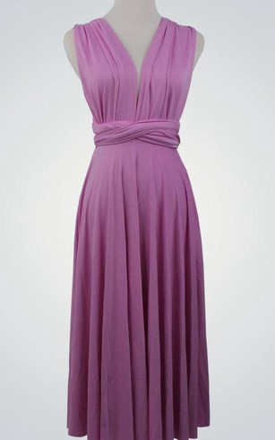 V Neck Sleeveless A-line Pleated Jersey Knee Length Dress With Sash