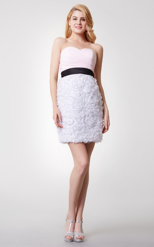 Special Sweetheart Ruched Short Chiffon Dress With Floral Skirt
