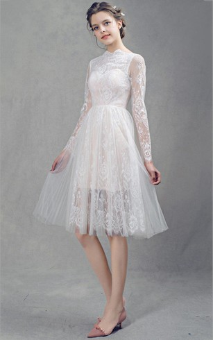 Knee wedding gowns with sleeve mid length sleeves bridal dresses french lace short tulle wedding with sleeves dress junglespirit Image collections