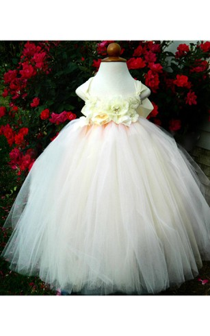 Cap Sleeve Floral Bodice Pleated Tulle Ball Gown With Bow Sash
