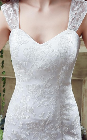 Elegant Lace Sweetheart A-line 2016 Wedding Dress Sweep Train Lace-up
