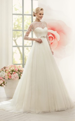 A-Line Floor-Length Jewel Long-Sleeve Illusion Tulle Dress With Lace And Waist Jewellery