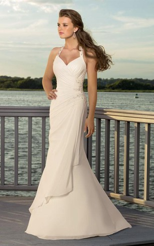 Halter top wedding dresses dorris wedding sheath v neck halter chiffon wedding dress junglespirit Choice Image