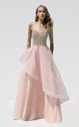 A-Line Floor-Length Sweetheart Sleeveless Beading Draping Backless Dress
