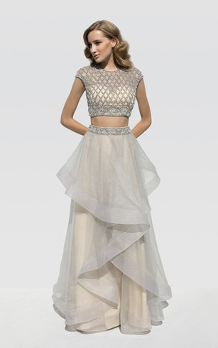 A-Line Floor-Length Scoop-Neck Cap-Sleeve Organza Beading Draping Dress