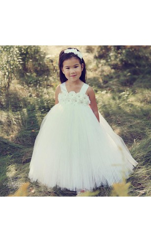Beading Flower Bodice Empire Tulle Ball Gown With Ruffles