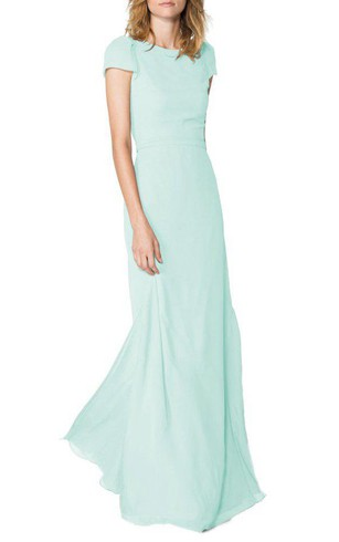 Keyhole Back Short Sleeves Long Chiffon Dress with Side Split