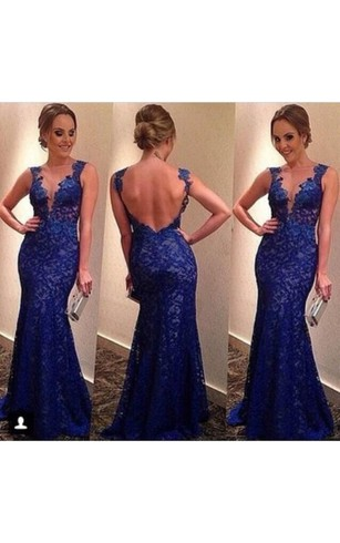 Sexy Backless Royal Blue Evening Dresses 2016 V-neck Sleeveless Full Lace Prom Gowns