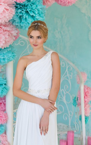 Sheath Floor-Length One-Shoulder Sleeveless Lace-Up Chiffon Dress With Ruching And Beading
