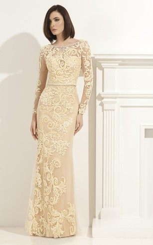 Sheath Floor-Length Scoop-Neck Long Sleeve Lace Appliques Waist Jewellery Illusion Dress