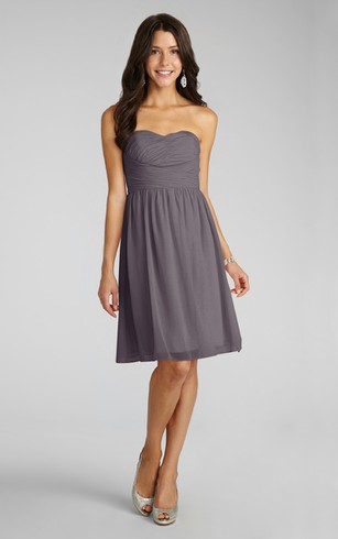 Short Lovely Sweetheart Chiffon Dress With Ruching