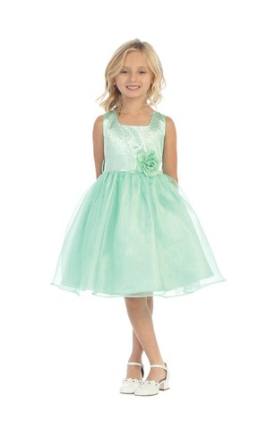 Beaded Square Neckline Organza Short Dress With Flower