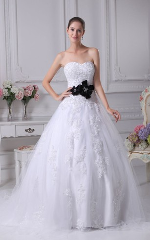 Strapless A Line Tulle Ball Gown With Lace Appliques And Floral Waist