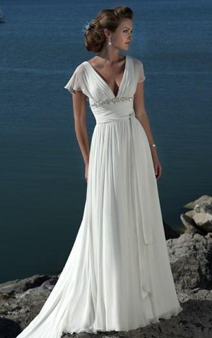 A-line V-neck Short Sleeves Beading Sweep Train Chiffon Beach Wedding Dress