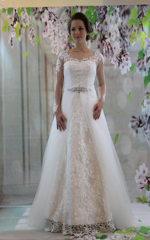 A Line Lace Bateau Neck Dress With Illusion Long Sleeves