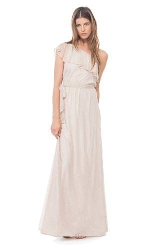 Long One-Shoulder Romantic Dress With Ruffles
