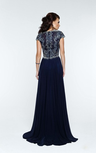 A-Line Floor-Length Sweep Queen Anne Short Sleeve Chiffon Beading Pleats Zipper Dress