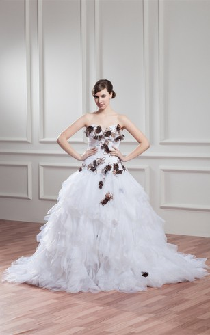 Sweetheart Tiered A Line Criss Cross Lace And Dress With Flower